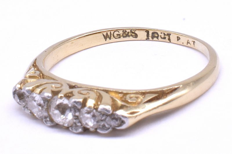 Antique 18 Karat And Platinum 5-Stone Diamond Ring, circa 1900