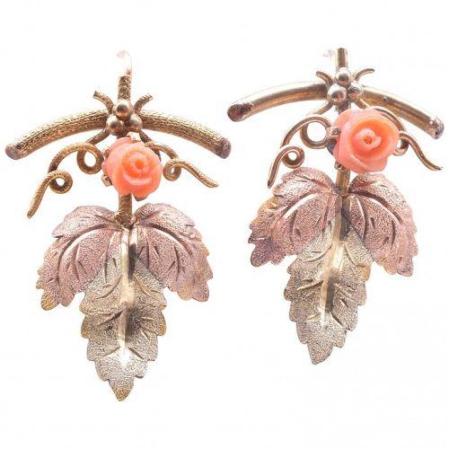 C1900 15 Karat Two Color Gold Coral Rosebud and Leaf Form Earrings