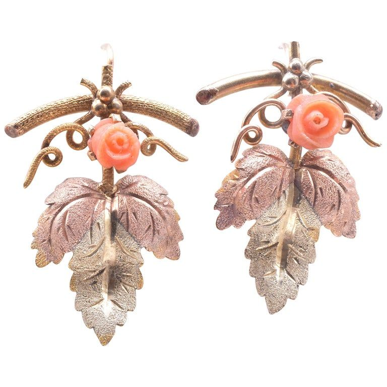 15 Karat Two Color Gold Coral Leaf Form Earrings, circa 1900