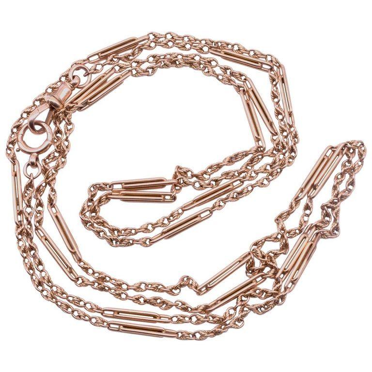 """C1900 Victorian 15K Fancy Link Watch Chain 51"""""""