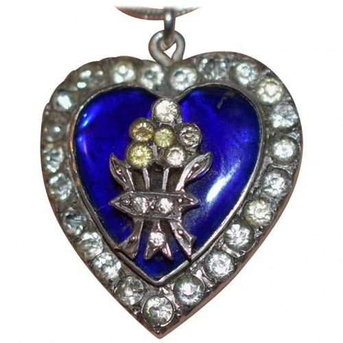 Silver Blue Enamel and Paste Heart Pendant with Bouquet, circa 1860