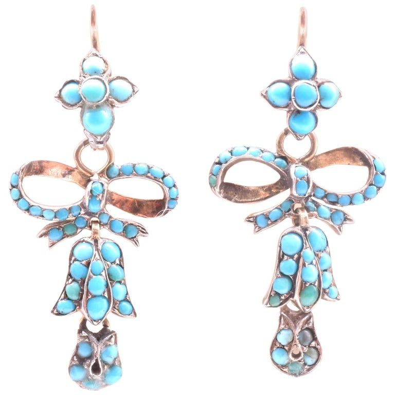 Victorian Turquoise Flower and Bow Earrings