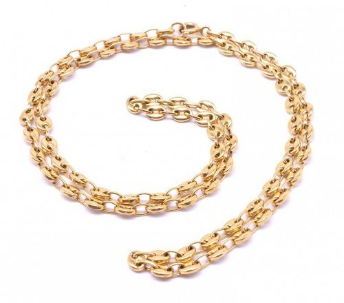 18 Karat Nautical Link Necklace with Anchor Chain, circa 1900