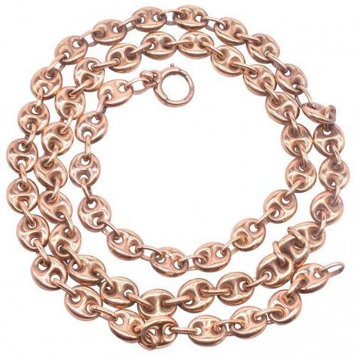 9 Karat Nautical Link Necklace with Anchor Chain, circa 1900