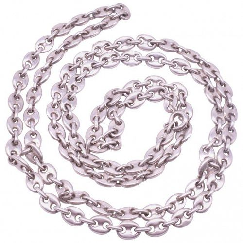 Sterling Silver Midcentury Nautical Chain Necklace with Anchor Links