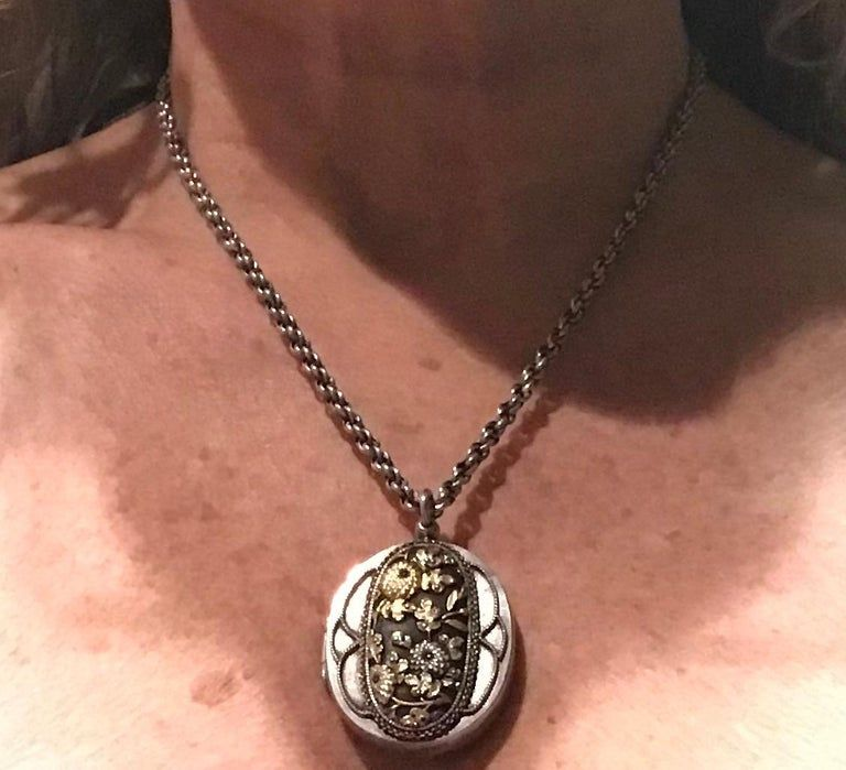 Shakudo Locket and Integrated Chain with Two Enchanting Scenes