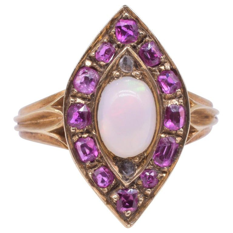 Marquis Shaped Ruby and Opal and Rose Diamond Ring