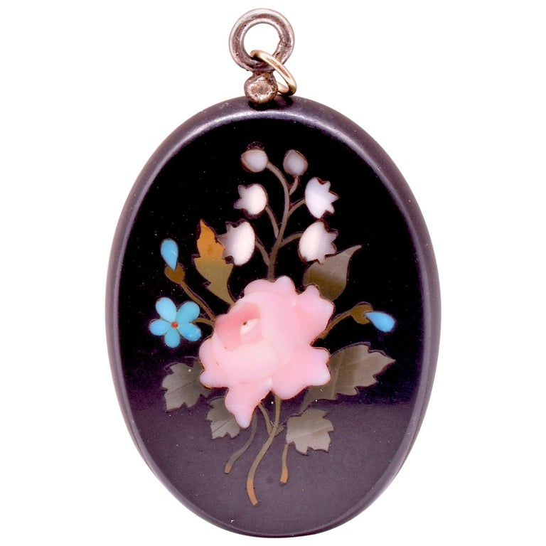 Antique Victorian Pietra Dura Pendant with Floral Design, c1880.
