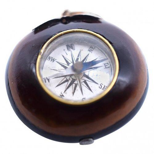 C.1860 Gold & Horse Chestnut Case Compass Pendant