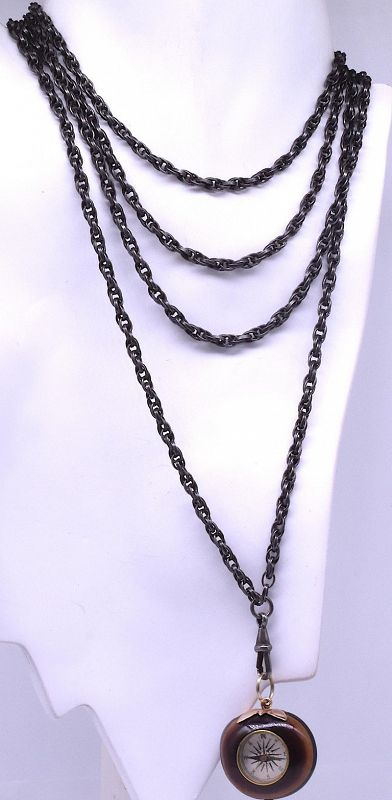 Victorian Gunmetal Fancy Link Chain Necklace