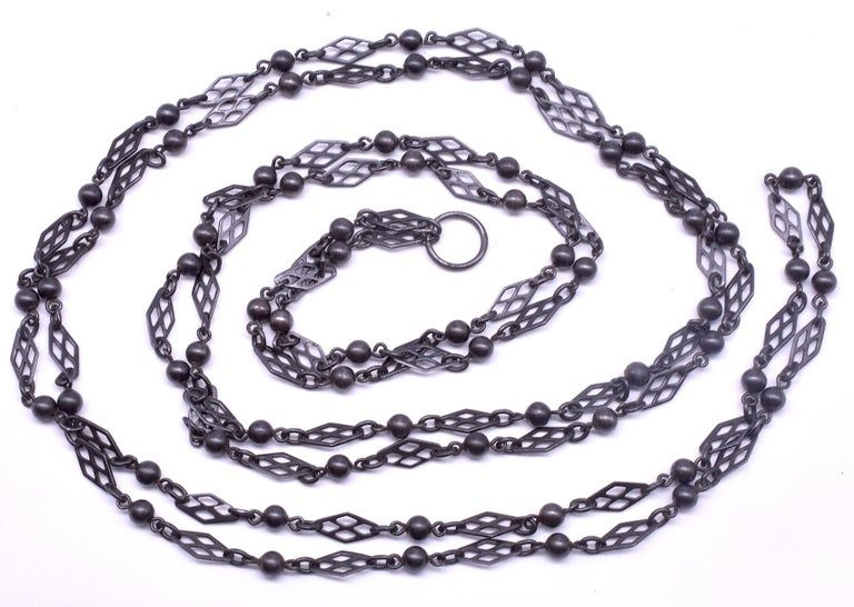 C1880 Gunmetal Watch Chain of Links and Balls