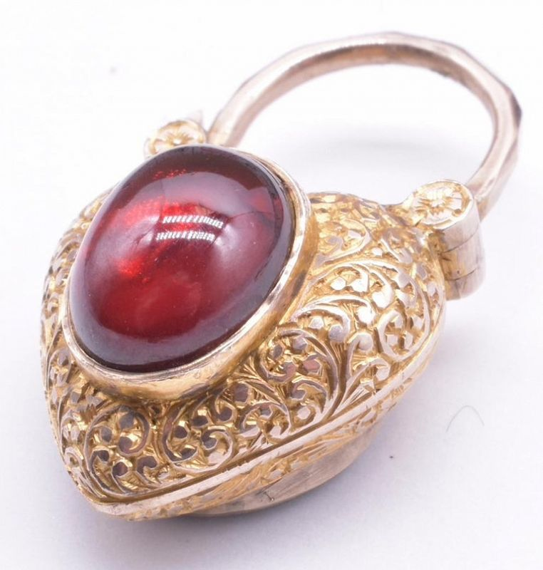 18K Victorian Garnet Heart Gate Padlock Charm ON HOLD