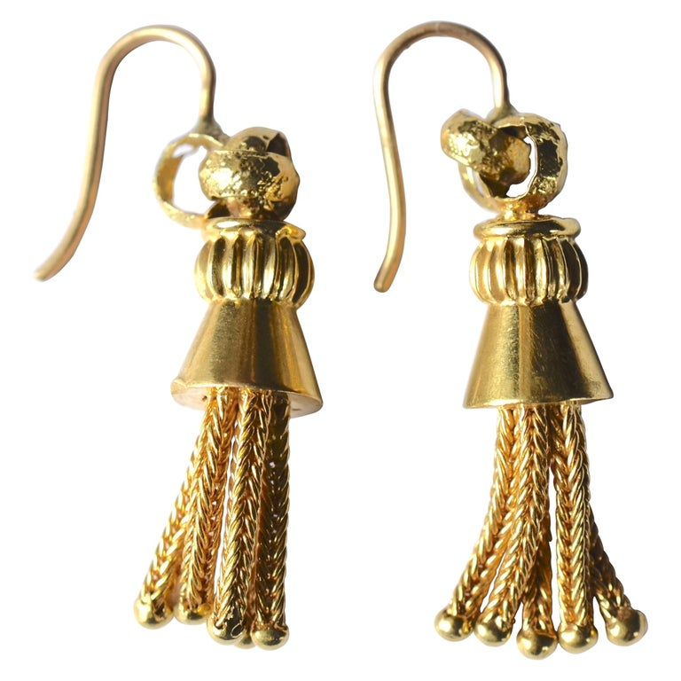 Victorian 18 Karat Braided Tassel Drop Earrings, circa 1880