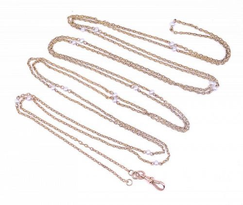 Victorian 15 Karat Gold and Natural Pearl Watch Chain Necklace
