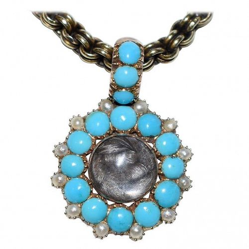 Gold, Turquoise and Pearl Locket Pendant with Bale and Plaited Hair