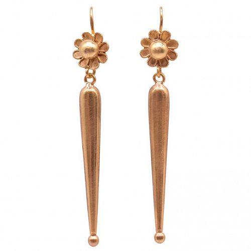 15K Gold Drop Earrings, c1880
