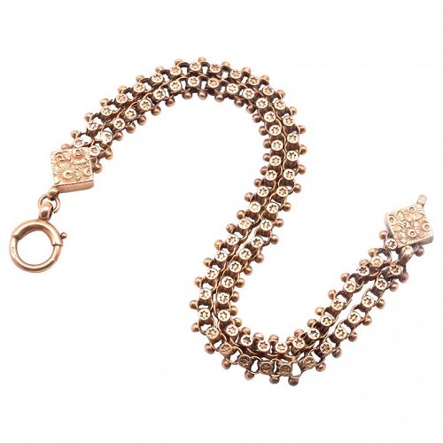 C.1880 9K Victorian Fancy Link Chain Bracelet with Stars