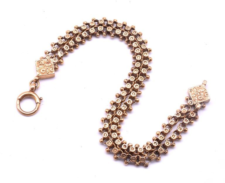 C.1880 9K Victorian Fancy Link Chain Bracelet with Stars