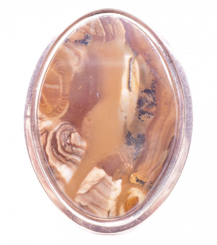 Georgian 18K Agate Navette Ring, C 1780