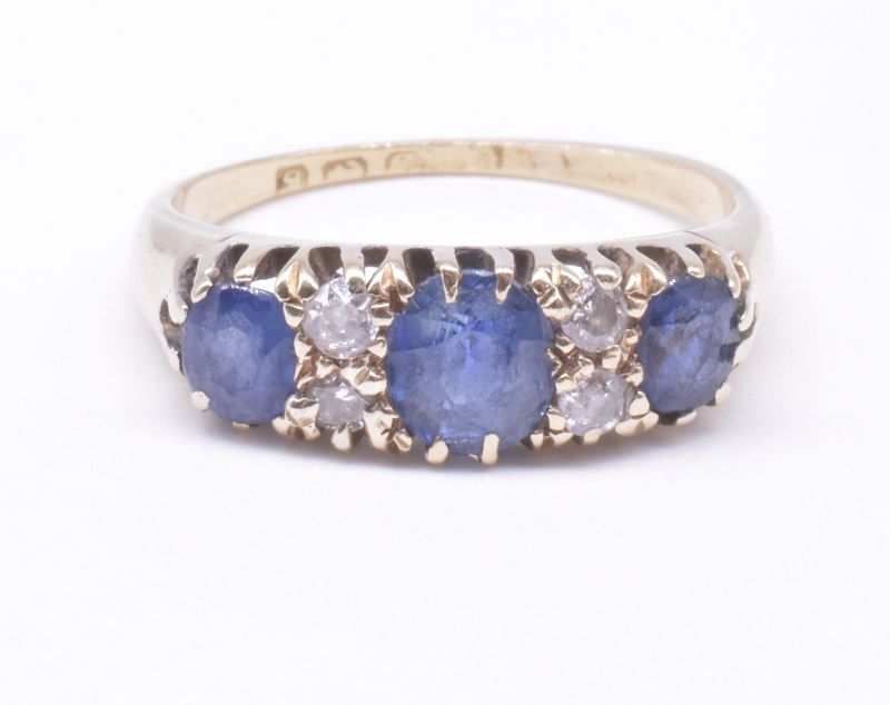 Victorian Three Stone Sapphire Ring with 4 Diamonds, HM, 1906