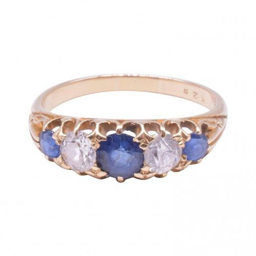 Edwardian 5 Stone Half Hoop Ring of 3 Sapphires and 2 Diamonds