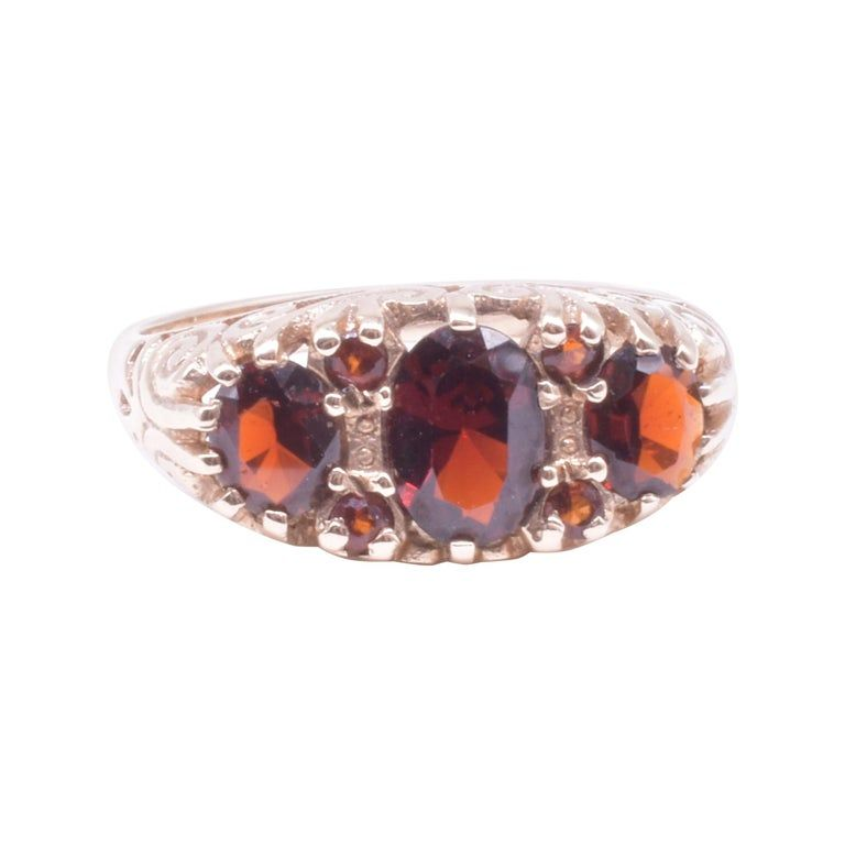Three Stone Half Hoop Hessonite Garnet Ring, HM B'ham, 1983