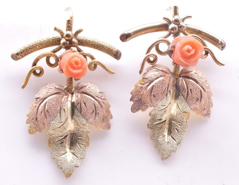 15K Two Color Leaf Earrings