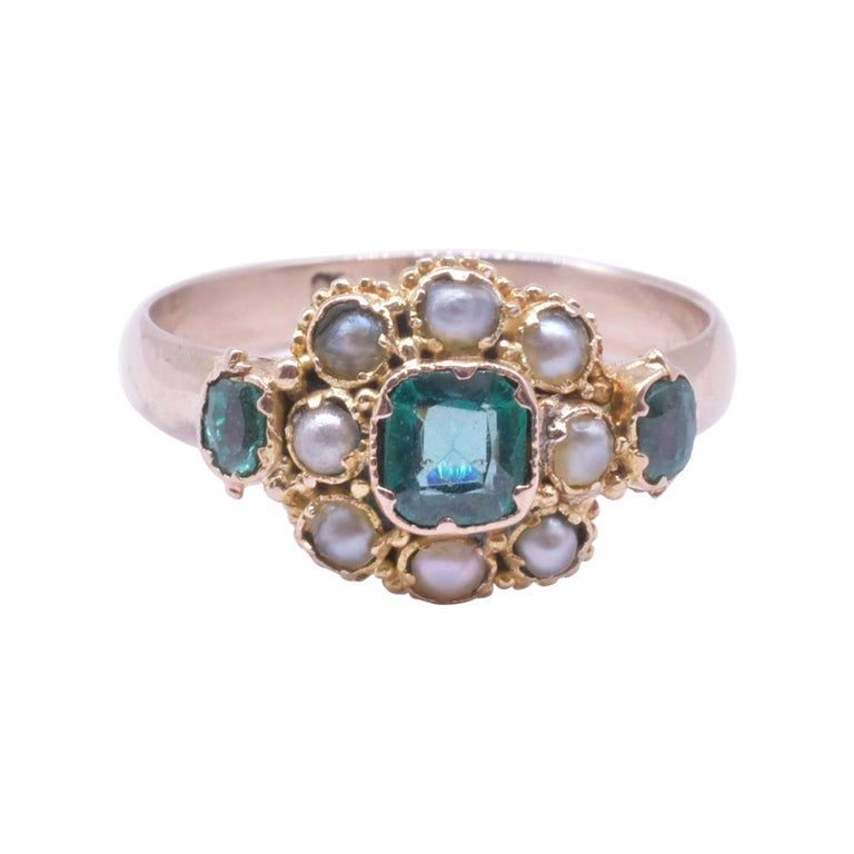 Victorian Pearl and Emerald 15k Cluster Ring