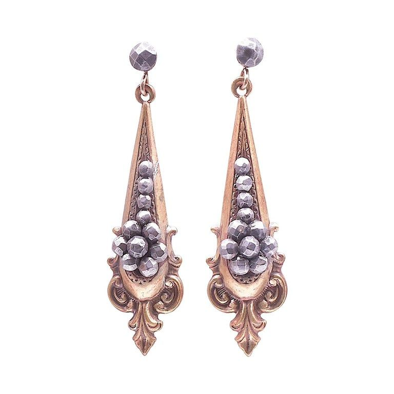 Edwardian Drop Earrings in Gilt Metal with Faceted Round Steel Detail