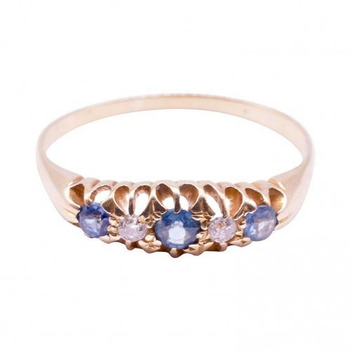 C1910 18k 3 Sapphire and 2 Diamond Yellow Gold Band Ring