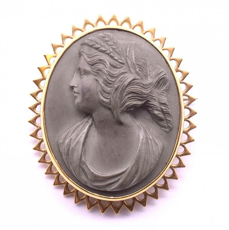 Lava Cameo Brooch of Demeter (Ceres). with Gold Pointed Bezel