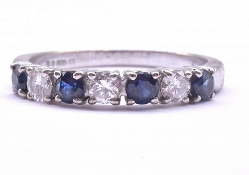 18K Sapphire and Diamond 7 Stone 1/2 Hoop Ring in White Gold, HM 1975