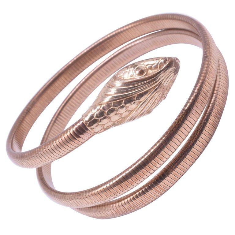 C1940's 12K Gold Filled Forstener Snake Bracelet