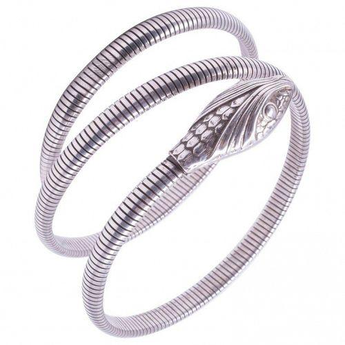 C1940 Forstner Sterling Coiled Snake Bracelet