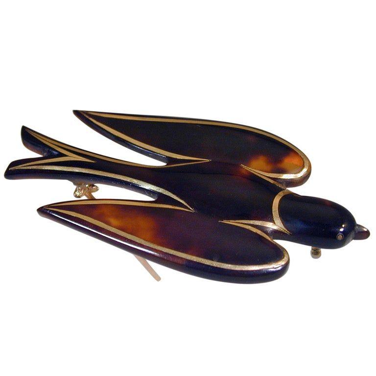 Antique Pique Dove Brooch