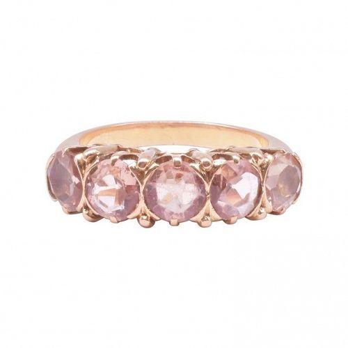 Victorian Half Hoop Five Stone Topaz Ring, C1900