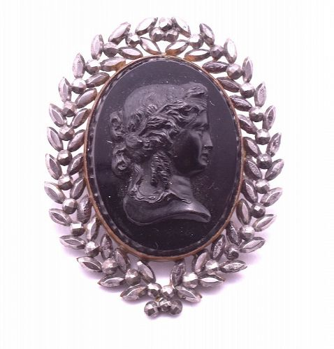 Victorian Cameo Brooch of a Bacchante in French Jet and Cut Steel