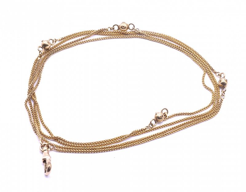 """Victorian 15K Gold Rope Chain Necklace with Decorative Gold Balls, 36"""""""