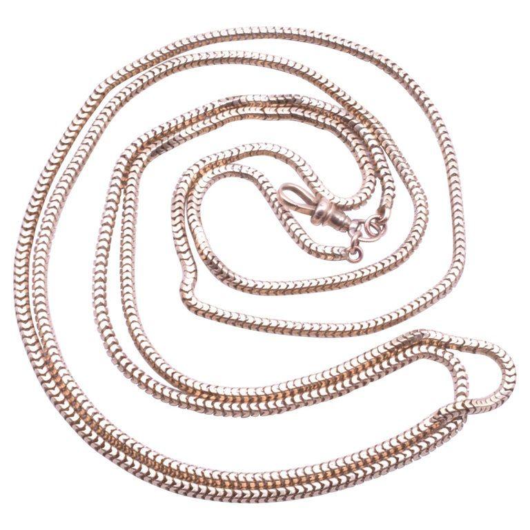 Victorian 9K Gold Slinky LongGuard Snake Chain Necklace C. 1890