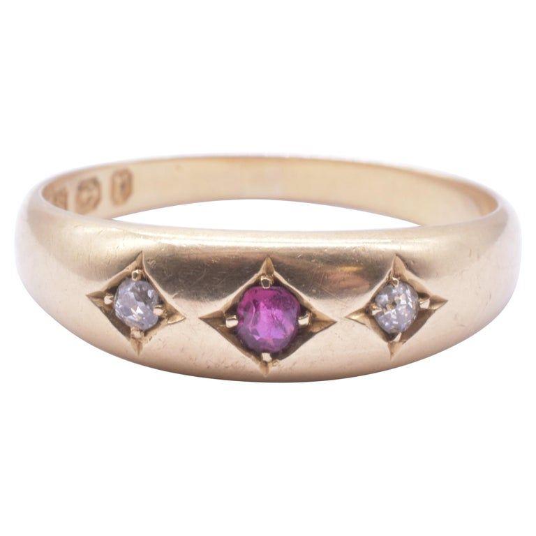 18K Ruby and Diamond Gypsy Ring, Hallmarked 1891