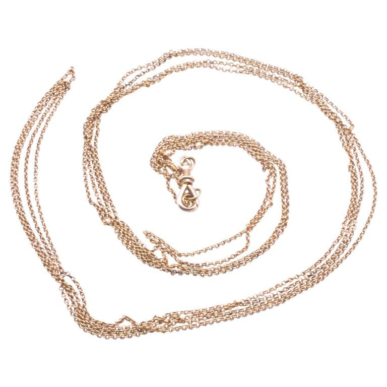 C.1880 15K Gold Belcher Link Chain with Threaded Dog Clip