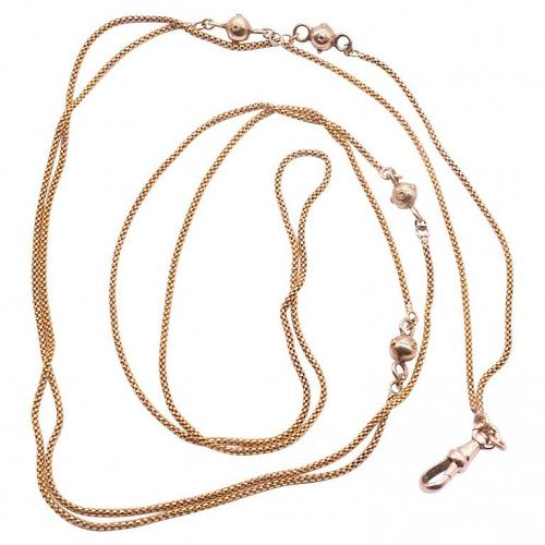 Victorian 15k Gold Rope Chain Necklace with Decorative Gold Balls
