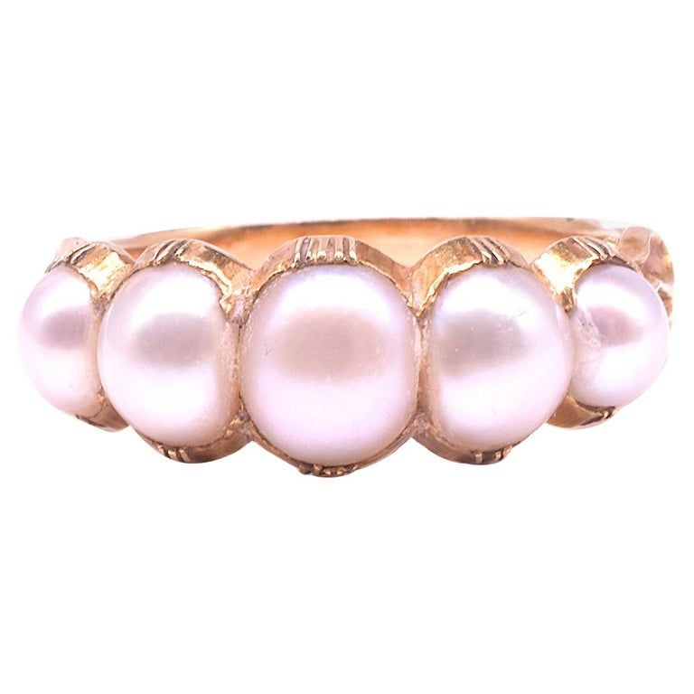 C.1820 Five Stone Natural Pearl Ring 18K