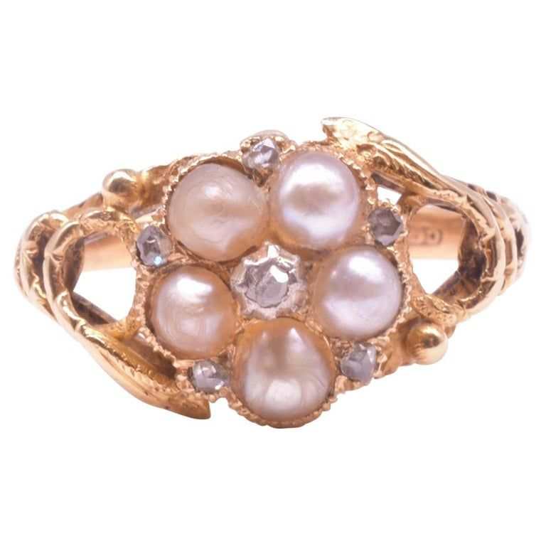 813 Pearl and Diamond Forget Me Not Ring with Serpent Shoulders