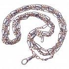 C.1890 Niello and Triple Gold Link Original Watch Chain