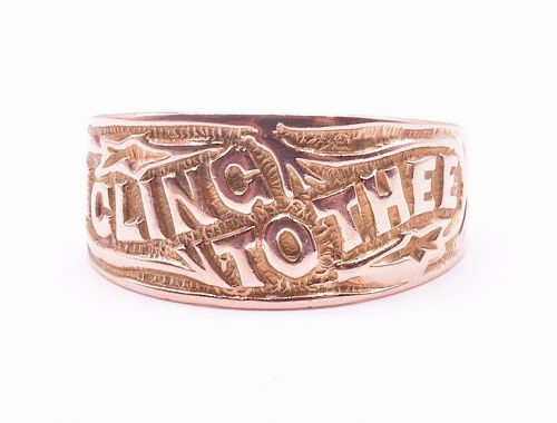 """9K Rose Gold """"I Cling to Thee"""" Sentimental Message Band Ring"""