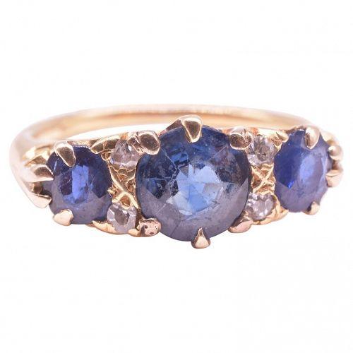 C.1900 18K Gold Diamond and Sapphire 5 Stone Ring