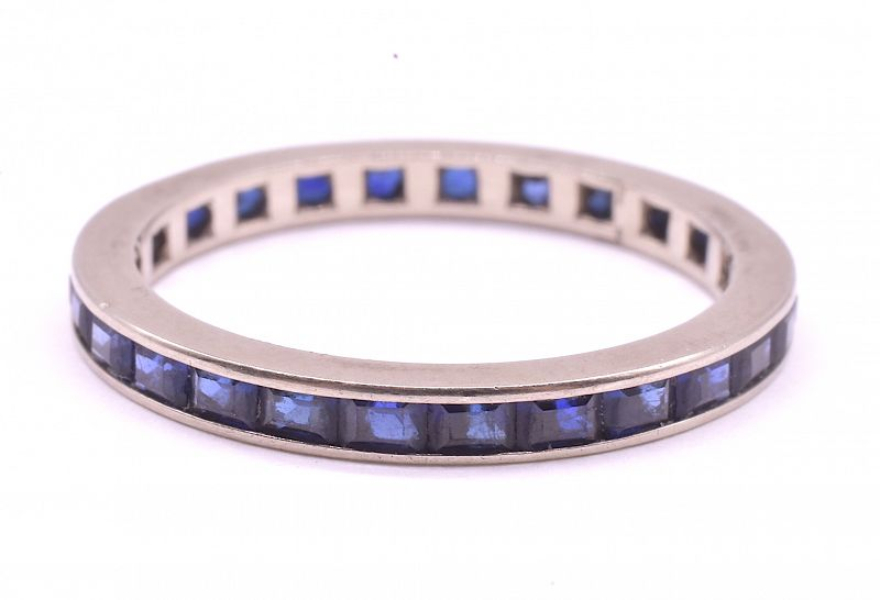 C.1900 14K Sapphire Eternity Band Ring, size 6.5