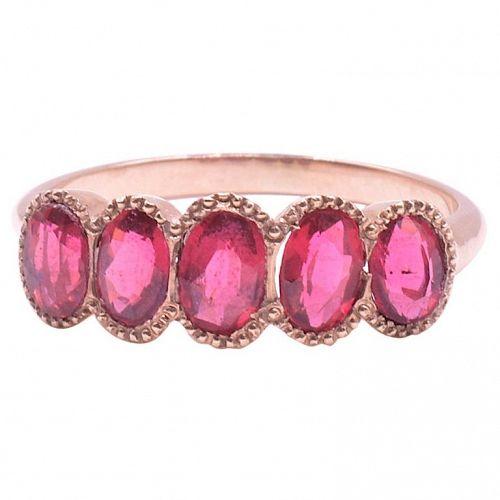 C.1900 15K Gold 5 Stone Half Hoop Garnet Ring