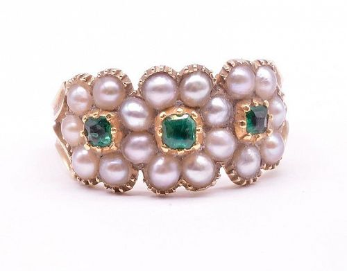 C.1830 18K Gold Pearl and Emerald Triple Cluster Ring
